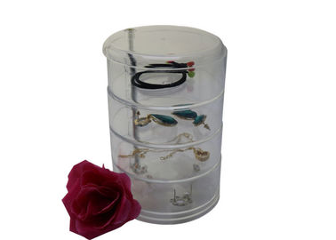Rotating Acrylic Jewelry Display Case , 4 Tiers Round Acrylic Jewellery Display Stands