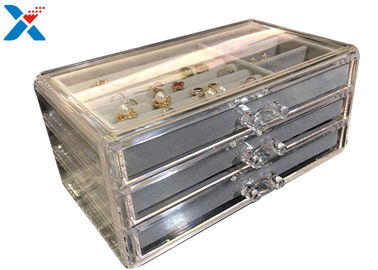 Clear Acrylic Makeup Organiser , Acrylic Jewelry Display Box With Velvet