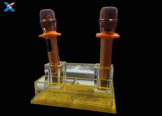 KTV Crystal Acrylic Microphone Stand ,  Smooth Surface Clear Plastic Display Box