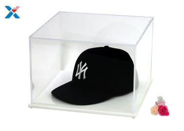Baseball Hat Acrylic Display Case With White / Black Base A Class Acrylic Sheet