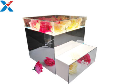 China Mirror Acrylic LED Box With Drawer , Flowers Packing Mirror Flower Box supplier