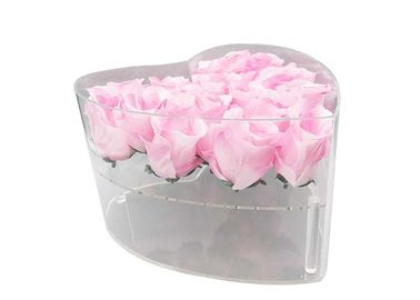 China Gifts Packing Square Acrylic Box , Luxury Love Heart Shape Acrylic Box For Roses factory