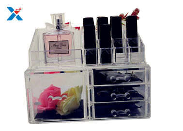 Eco Friendly Acrylic Makeup Organiser With Drawers Display Storage Box