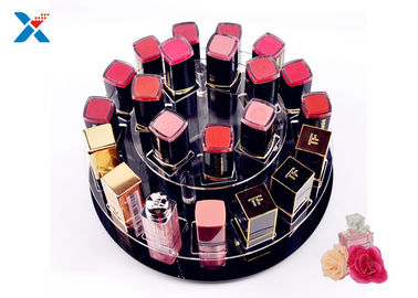 2 Tiers Round Acrylic Makeup Organiser 360 Degree Rotating For Displaying Lipsticks
