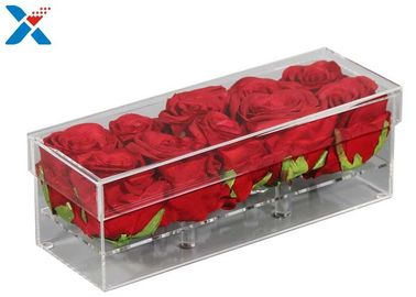 China Rectangle  Acrylic Flower Box 12 24 36 Holes Rose Flower Box With Lid Durable factory