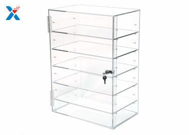 Rectangular Clear Acrylic Display Rack Locking Acrylic Display Case Adjustable Shelves