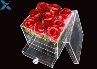 China Transparent Acrylic Flower Box 15 * 15 * 15cm / 20 * 20 * 20cm / 25 * 25 * 25cm factory