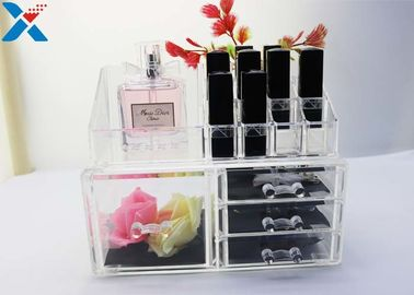 Rectangle Acrylic Makeup Drawer Organizer / Acrylic Cosmetic Organiser ROHS Approved