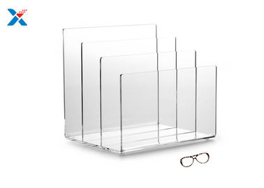China 3 Sections Acrylic File Organizer , Clear Acrylic Office Organizer OEM Available factory