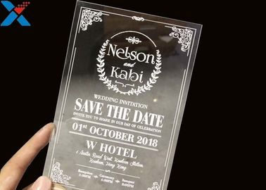 China Laser Cut Acrylic Wedding Invitation Cards / Mirror Clear Invitation Card factory