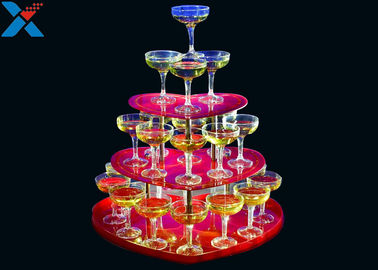 China Party Acrylic Wine Rack , 3 Layers Acrylic Champagne Tower For Wedding factory