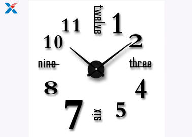 China Decoration 3D Acrylic Wall Clock , Large Sticker Wall Clocks For Bedroom / Living Room factory