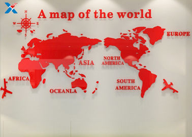 Office Creative Acrylic Shapes Craft / 3D Acrylic Stereo World Map Wall Sticker
