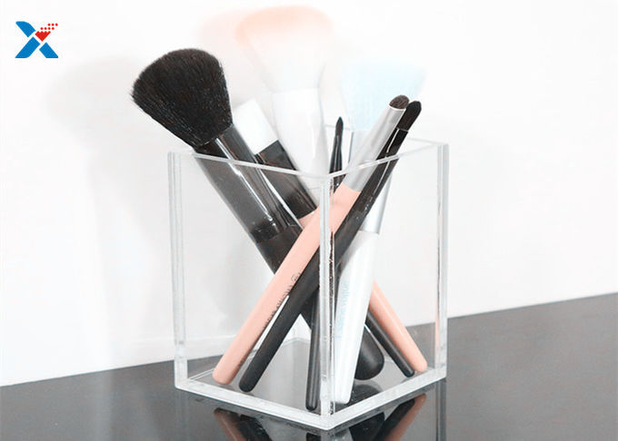 Make Up Brush Custom Made Acrylic Boxes , Transparent Acrylic Display Cube